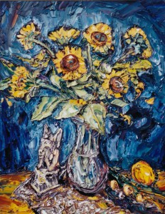 Sunflowers with Gargoyle, by Rick Mullin