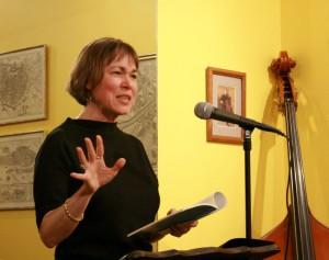 Kim Bridgford introduces her poetry at the String Poet Studio Series
