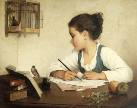 A Girl Writing - Henriette Browne