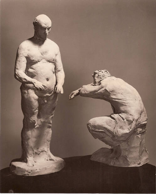 Barman and Drinker, 1960, terra cotta by Robert White