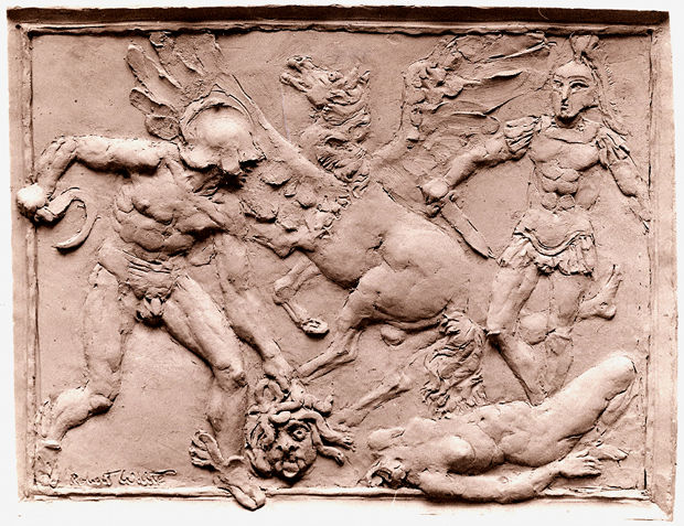 Perseus: The Death of Medua, The Birth of Chrysoar, and Pegasus, 1970, terra cotta, by Robert White